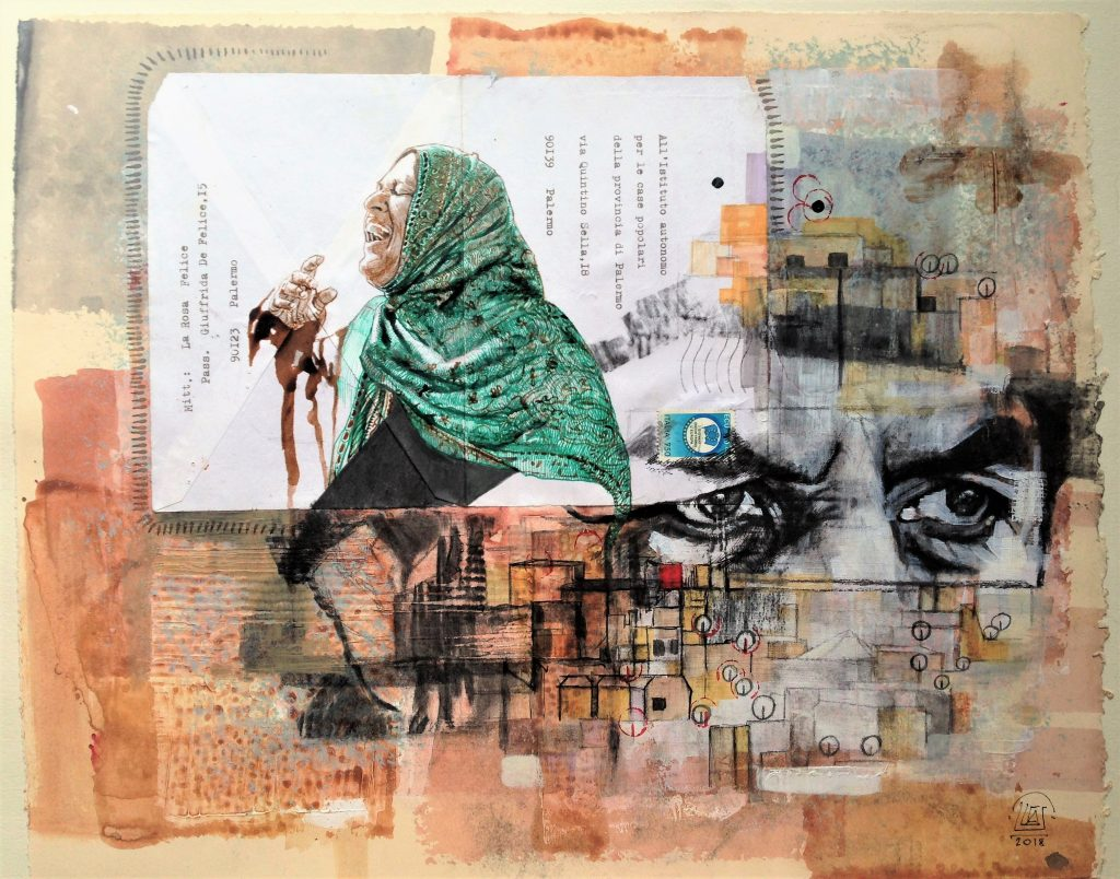 """Medina"" Technique mixte et collage sur papier, 40 x 50 cm, 2018."